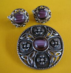 Vintage Scottish Miracle Brooch & Clip On Earrings - Purple Swirl Glass Agates