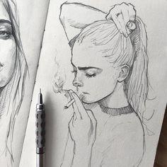 art sketchbook Put together me pencil_arts_group . Art by Pencil Art Drawings, Art Drawings Sketches, Cute Drawings, Pencil Sketching, Sketch Art, Girl Pencil Drawing, Sketches Of Girls, Tumblr Sketches, Sketch Tattoo