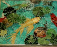 mosaic table top by mosaic artist Candace Clough