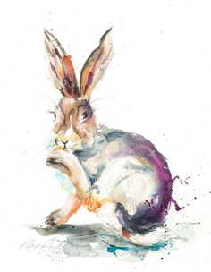 """Canvas Giclee Watercolour Hares Hare Wildlife Art Print by collectable artist/designer Nicola Jane Rowles """"Well Groomed"""" Watercolor Animals, Watercolor And Ink, Cello, Nature Prints, Art Prints, Cow Art, Country Art, Dog Tattoos, Wildlife Art"""
