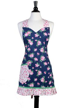 What a pretty apron! Flirty Ruffled Apron - Navy Blue Pink Floral - Large Pocket - Ruffled Hemline - Chef - Kitchen Cooking - Over the Head Comfort #apron #cooking #kitchen #linens #chef #affiliate