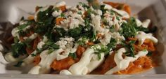 Recipe Red Chilaquiles - Ole Mexican Foods Mexican Dishes, Mexican Food Recipes, Corn Tortilla Recipes, Corn Tortillas, Caprese Salad, Food And Drink, Cooking Recipes, Foods, Chicken