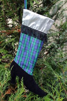 Victorian Boot #Christmas Stocking  Blue by ChicChixnChampagne, $20.00
