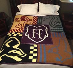 Harry Potter Houses of Hogwarts Blanket by Karly's Knits and Crochets