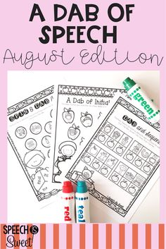 August: A Dab of Speech and Language is full of no prep and fun speech therapy activities! These pages address articulation, language, and stuttering/fluency! Just add bingo daubers (but they can also be used with crayons, colored pencils, etc)!