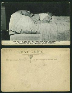 The Death Bed of His Majesty King Edward VII KEVII. By Command of Her Majesty Queen Alexandra. Princess Alexandra, Princess Elizabeth, Postcards For Sale, Old Postcards, King Edward Vii, Edward Iv, Victoria And Albert Children, Famous Freemasons, Post Mortem Pictures