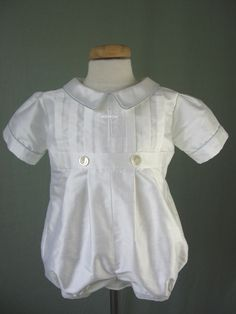 no blue piping, less puffy, longer pantlegs--idea for boy baptism outfit