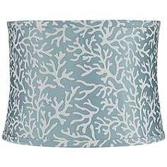 Unari Teal with Coral Pattern Drum Lamp Shade 13x14x10 (Spider)