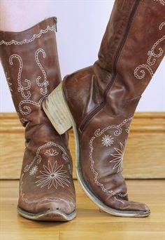 Vintage 70's Leather Boho Cowboy Boots