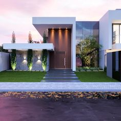 32 Ideas House Facade Lighting Architects For 2019 Modern Architecture House, Modern Buildings, Architecture Design, Modern House Facades, House Front Design, Modern House Design, Modern Exterior, Exterior Design, Interior Modern