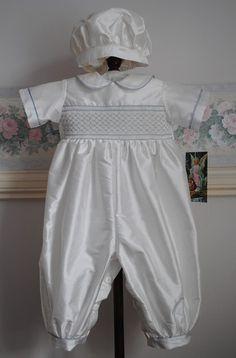 Handmade Silk Christening Romper and Cap - Antony Size 6 months