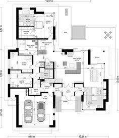Projekt domu Wyjątkowy 201,09 m2 - koszt budowy - EXTRADOM House Plans Mansion, Family House Plans, Craftsman House Plans, Best House Plans, Dream House Plans, Residential Building Plan, Home Building Design, Bungalow Floor Plans, Bungalow House Design