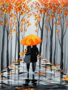 Paint Nite painting Rainy Autumn Stroll by artist Michelle Smith from Palm Desert, CA, USA. Autumn Painting, Love Painting, Acrylic Painting Canvas, Painting & Drawing, Canvas Art, Painting Wallpaper, Umbrella Painting, Umbrella Art, Beginner Painting