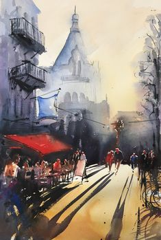Stefan Gadnell present his watercolors and arts. Watercolor Paintings, Cities, Sketches, Art, Frames, Drawings, Art Background, Water Colors, Kunst