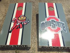 Ohio State cornhole Boards  @Betsy Cline  Or use the right board and make the second board with VT colors and logo.