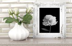 peony print, black and white flower, flower print, black and white print, black and white photo, black and white wall art, digital download di AlemiPrints su Etsy