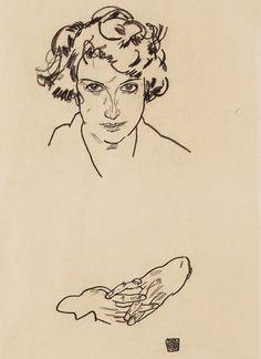 (Egon Schiele, Portrait of a Girl, 1917, black crayon on wove paper, 33.5 x 16.5 cm, Art Gallery of Ontario, Gift of Herbert Alpert in memory of Patricia Joy Alpert, Beloved Wife, Mother, Grandmother, Artist, Educator, 2002)