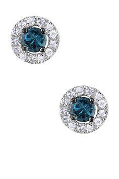 Two-Tone Blue & White Diamond Round Stud Earrings - 0.33 ctw on @HauteLook