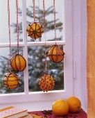 hanging decorated oranges