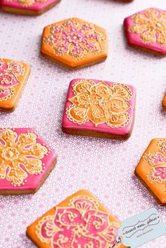 by Dessert Menu, Please, via Flickr. Pretty orange and pink cookies.