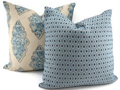Shades of Blue, Taupe & Natural Deorative Throw Pillow Cover, Bohemian Medallion…