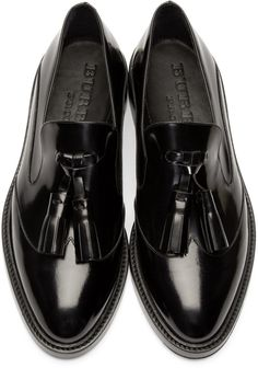 Burberry Prorsum $595 USD - Black Halsmoor Tasseled Loafers 161375F121002 Low-top polished leather loafers in black. Almond toe. Tonal leather tassels at tongue. Gold-tone logo plaque at heel counter. Tonal sole and stitching. Leather. Made in Italy.