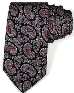 Paisley Necktie Classic Tie Black Red Brown