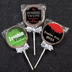 Zombies will come back to life with these personalized chocolate lollipops!