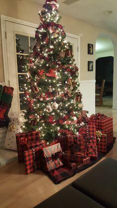 Christmas Tress Tree Design Plaid Woodland Scenes Time Decorations Holiday Decorating