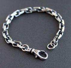Men's Heavy Chain Bracelet, Oxidized Sterling Silver by LynnToddDesigns on Etsy https://www.etsy.com/listing/219899845/mens-heavy-chain-bracelet-oxidized