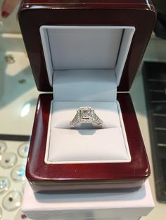 Art Deco design radiant cut diamond engagement ring hand made by diamondline jewellery