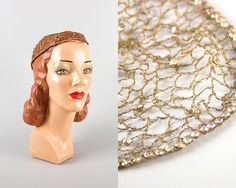 RARE Vintage 1920s Headpiece | 20s Rhinestone Braided Brass Net Sparkly Flapper Bridal Wedding Juliet Cap | Birthday Life Vintage on Etsy