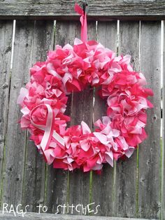Breast Cancer Awareness Layered Rag Wreath by RagsToStitchesShop, $25.00