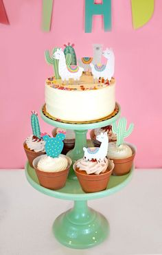 Your llama party isn't complete without Merrilulu's llama cupcake toppers! Great addition to make your dessert table more fun. Comes with 6 cacti and 6 llamas. Llama Birthday, Birthday Cake, Birthday Parties, Birthday Desserts, 8th Birthday, Birthday Ideas, Baby Cakes, Kaktus Cupcakes, Fondant Cupcakes