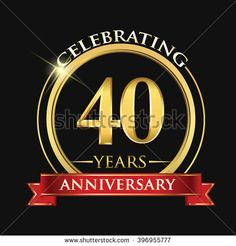 Celebrating 40 years anniversary logo. with golden ring and red ribbon. - stock vector