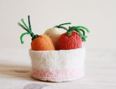upcycled wool small summer carrots and parsnip set by ouistitine, $15.00