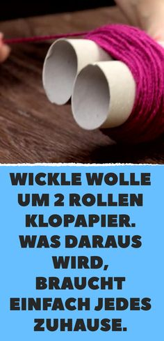 Wickle wool around 2 rolls of toilet paper. What comes of it simply needs every … Wickelwolle um 2 Rollen Toilettenpapier. Was dabei herauskommt, braucht einfach jedes Zuhause. Carton Diy, Diy And Crafts, Crafts For Kids, Water Into Wine, Diy Carpet, Beige Carpet, Famous Last Words, Carpet Cleaners, Toilet Paper