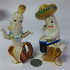 Vintage Anthropomorphic Chiquita Banana Couple Salt and Pepper Shakers