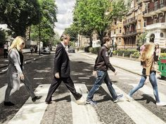 A Broad in London and Family crossing Abbey Road.  Iconic Album Cover Locations Shot In London and What Do They Look Like Today.