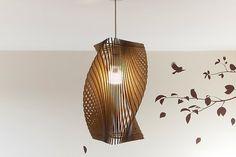 Twisted Lasercut Wooden Lampshade No.2 - Medium
