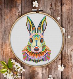 This is modern cross-stitch pattern of Mandala Rabbit for instant download. You will get 7-pages PDF file, which includes: - main picture for your reference; - colorful scheme for cross-stitch; - list of DMC thread colors (instruction and key section); - list of calculated