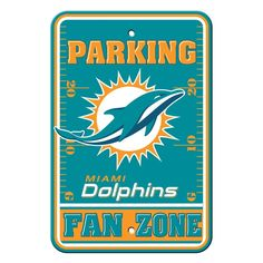 Only the biggest fans of the Miami Dolphins can save their parking space with the fan zone parking sign! The NFL officially licensed traffic sign is decorated with the Dolphins logo, team name and colors. Great for decorating a home, office or p. Dolphins Logo, Nfl Miami Dolphins, Dolphins Cheerleaders, Reserved Parking Signs, Dolphin Quotes, Nfl Arizona Cardinals, Team Names, Street Signs, Nfl Football