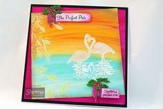 sample made using Sheena Douglass temptingly tropical FLAMINGOS. Sheena Douglass, Stamps, Tropical, Birds, Artists, Design, Seals, Bird