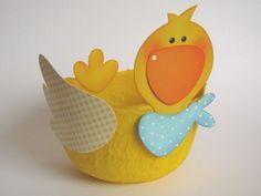 Osterkörbchen Osternest Ente Pappmache von Piratenbraut auf DaWanda.com