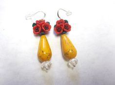 Teardrops And Roses Dangle Earrings  Red Yellow by sweetie2sweetie, $9.99