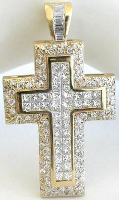 Exceptional 5.2 ctw Invisible Set Princess Cut and Round Diamond Cross in 14k yellow gold from MyJewelrySource.