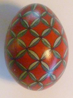 Not Just for Easter Egg Deep Red and Green leaves Fishing Net Design. Fragile and Beautiful. Signed with my JEH initials Free shipping. $85.00, via Etsy.
