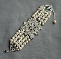 Bridal Pearl Rhinestone Pearl Bracelet Crystal Cuff by LXdesigns