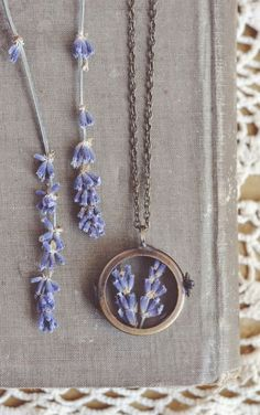 lavender shadowbox necklace