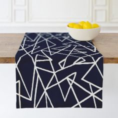 """""""Tangle"""" - Abstract, Bold typographic Table Runners in Navy by Kacey Kendrick Wagner. Modern Table Runners, Accent Decor, Design Table, Cool Designs, Kids Rugs, Cool Stuff, Dining Room, Play, Abstract"""